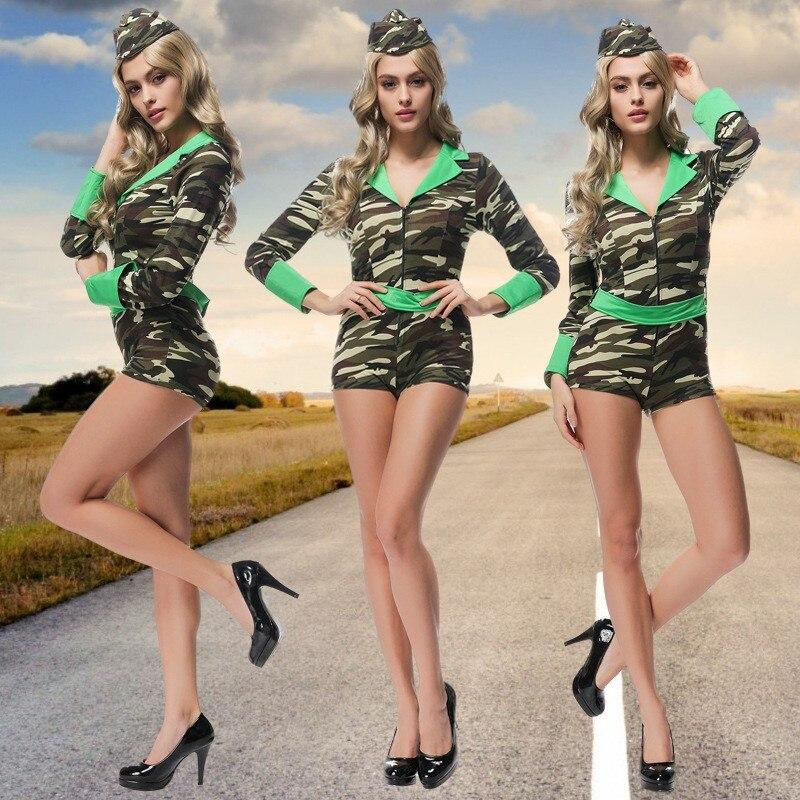 Uniforme de camuflaje para mujer, mono ajustado para mujer, disfraz de oficial, disfraz de Cosplay de Halloween, uniforme para mujer, tentación