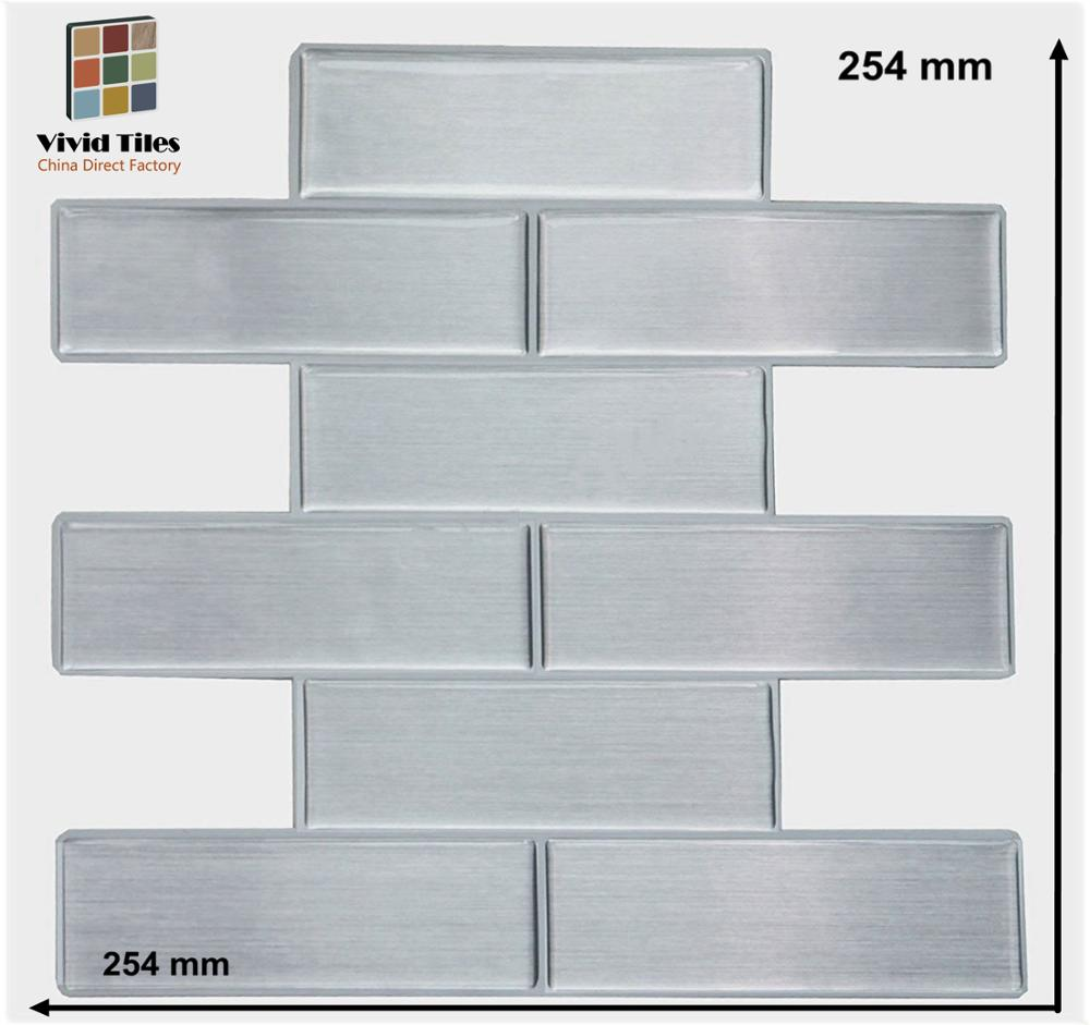 Vividtiles limpio ladrillo de plata estilo Backsplash decoración Popular 3D cáscara y Stick azulejos de pared para uso en interiores-1 hoja