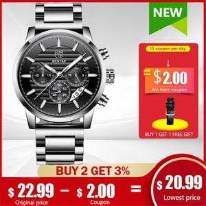 BENYAR New Men Watches Top Brand Luxury Business Sport Chronograph Quartz Wristwatch Men Stainless Steel Clock Relogio Masculino