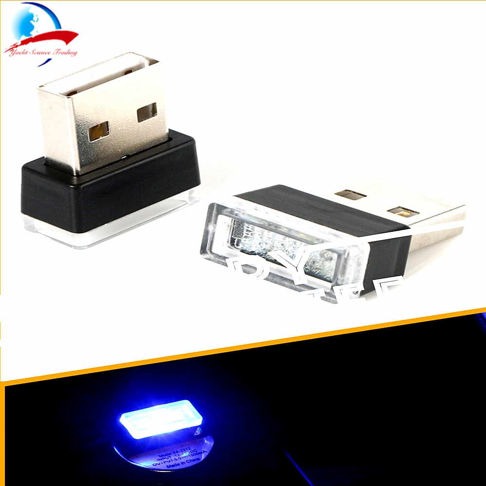 Cuatro luces para elegir, luces LED de ambiente USB para coche, Lámpara decorativa, iluminación de emergencia, enchufe Universal portátil para PC
