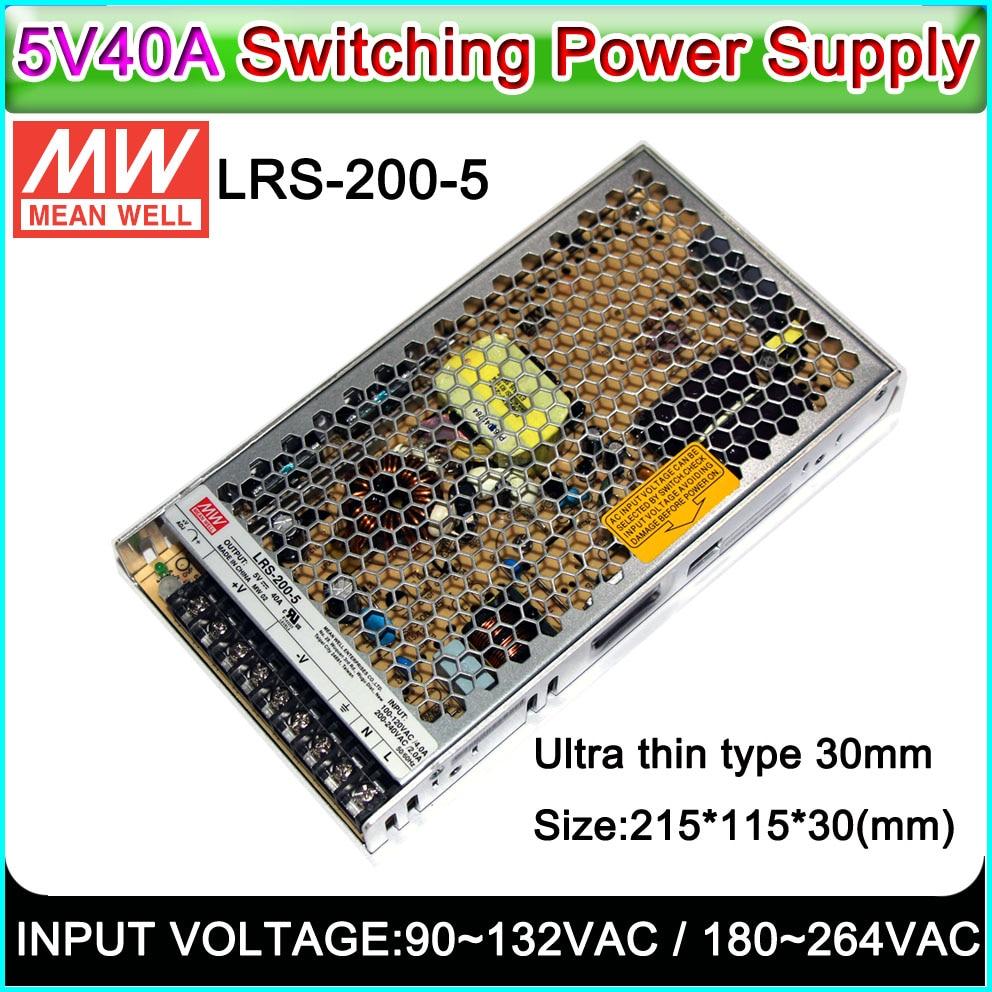 MEAN WELL LRS-200-5 переключатель питания 5V40A200W, крытый/открытый полноцветный P3 ~ P10 светодиодный дисплей, светодиодный знак переключатель питания