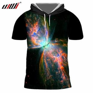UJWI Hooded T-shirt Men's 3D Print Galaxy Space Cap Tshirts Hoodie Camisa Masculina Slim Fit Fitness Shirts Casual Tshirt 7XL