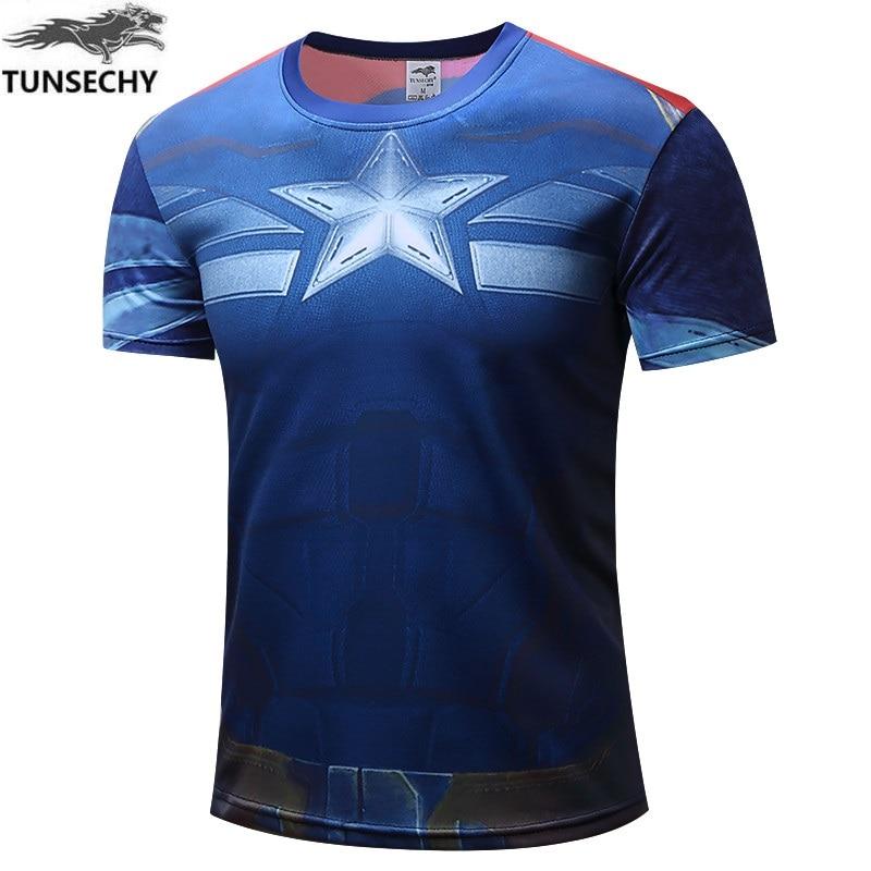 Nueva camiseta tunsegy captain America 2 2017 de ocio para hombres de moda camiseta con mangas cortas de estilo caliente de la chaqueta de la venta como pasteles calientes