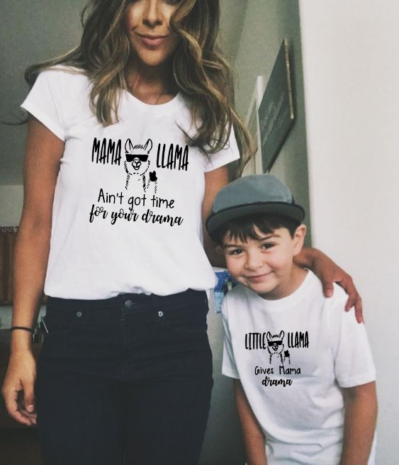 1pcs Mama Llama & Little Llama Mommy and Me Shirt 2019 New Print Family T Shirt Mom and Kid Clothes Short Sleeve Family Outfits