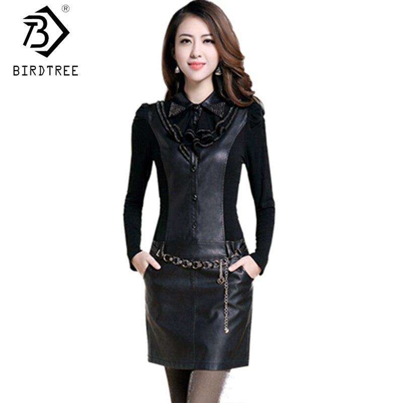 Hot Sale 2018 Spring Women Bodycon Dress Korean PU Leather Patchwork Long Sleeve Dresses Office Lady plus size 4XL D7D912C