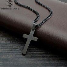 Eté Love bijoux hommes croix colliers pour femmes hommes acier inoxydable noir couleur pendentif prière colliers 24