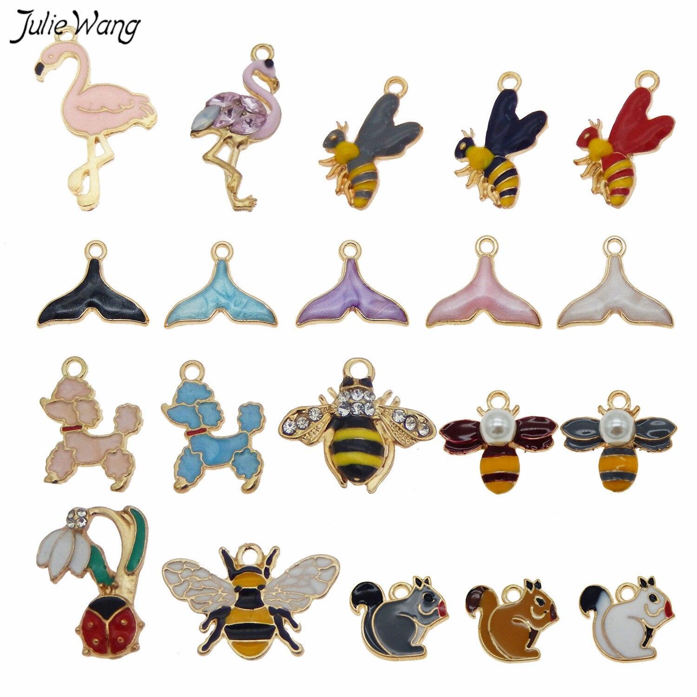 Julie Wang 10pcs Alloy Enamel Animal Charm Mix shape Dog Mermaid Tail Bees Necklace Bracelet Pendant Women DIY Accessory