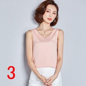 Женская шифоновая рубашка без рукавов, однотонная Повседневная офисная рубашка большого размера с V-образным вырезом, модель J64065 на лето, 2019