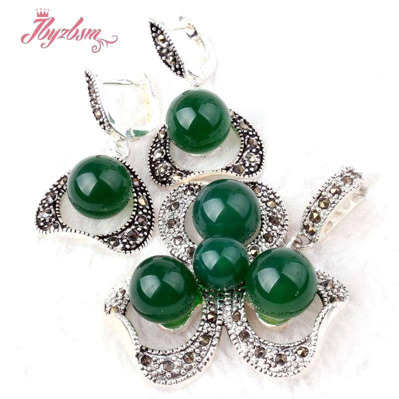8,10mm redondo verde ágata marcasita tibetana plata collar clásico colgante 35x45mm pendiente 19x25mm joyería 1 juego envío gratis