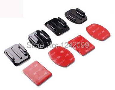SJ4000 Capacete Montar Plano Montagens + Curvo Montagens + 3 m Almofadas Adesivas VHB Para Xiaomi yi 4 k 4 k + Mijia Mini Gopro Hero7 6 5 3 EKEN H9 C30