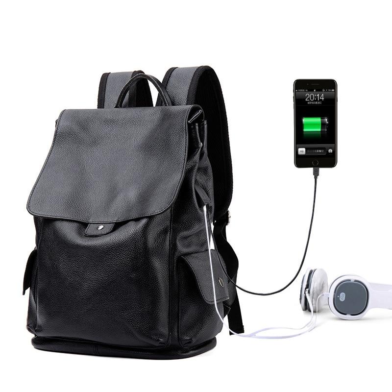 حقيبة ظهر من الجلد الطبيعي 100% للرجال ، حقيبة ظهر فاخرة للطلاب ، حقيبة سفر للكمبيوتر المحمول