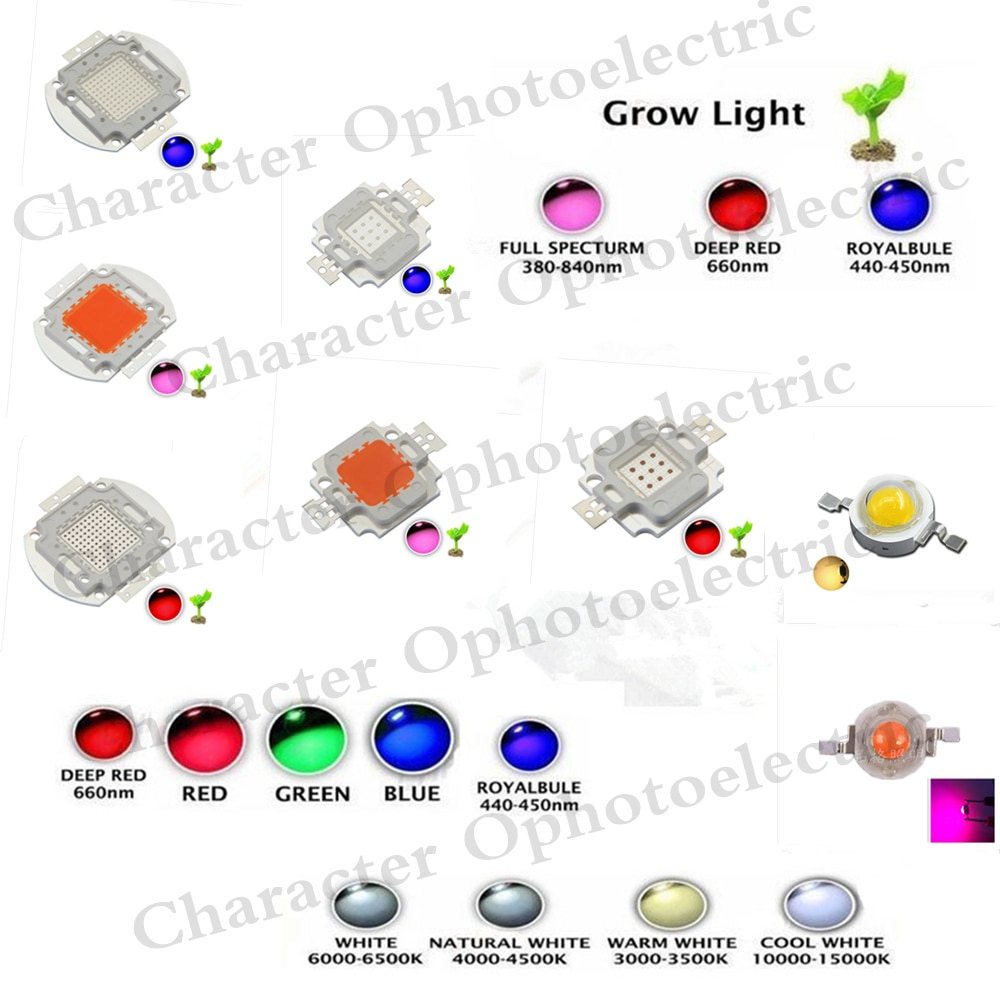 High Power LED Chip 1W 3W 5W 10W 20W 30W 50W 100W SMD COB Light Bead Warm Cold White Red Green Blue RGB Full Spectrum Grow Light high power led chip 850nm 940nm ir infrared 3w 5w 10w 20w 50w 100w emitter light bead cob 850nm 940 nm night vision cctv camera