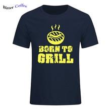 Été nouveau pur coton Hip Hop né pour griller Barbecue T-shirt garçon Barbecue nouveauté conception Camiseta impression T chemise de grande taille