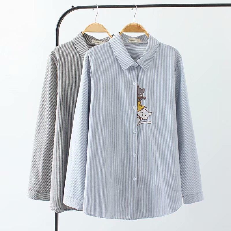 Blusa de lino de algodón de manga larga de talla grande para mujer 2018, camisa bordada de gato a rayas, Tops de mujer para primavera y otoño