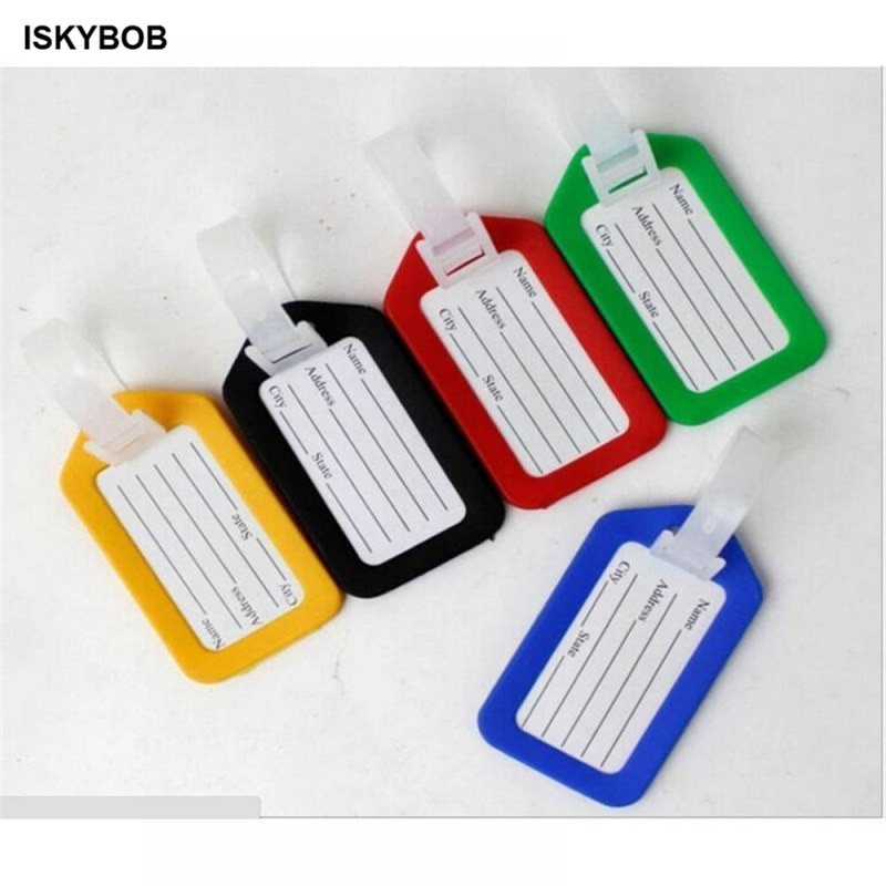 new fashion aluminium metal travel luggage tag baggage suitcase bag name address id label 1pc Random Plastic Luggage Tag Holder  Labels Strap Name Address ID Suitcase Bag Baggage Travel Luggage label