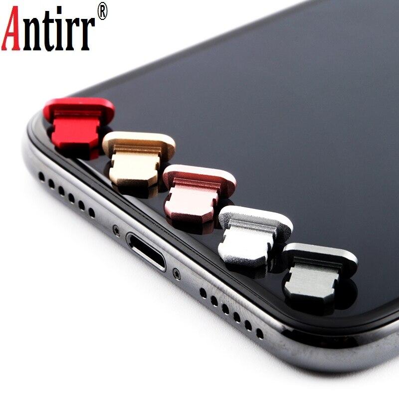 Tapón de polvo de aleación de aluminio para el puerto de carga del teléfono móvil para Apple IPhone 4 5 5S 6 6s 7 8 X Plus a prueba de polvo