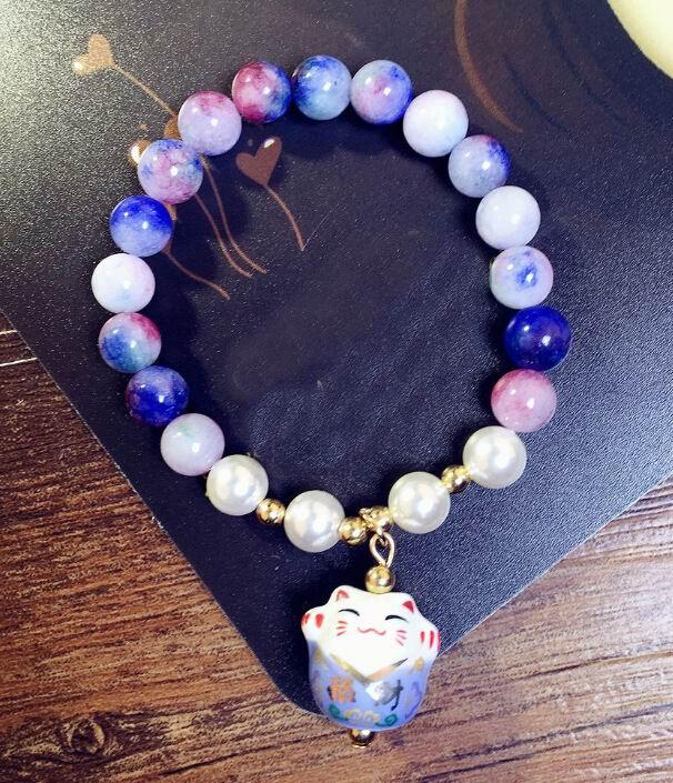 Pulsera de gato de la suerte con cadena de cuentas de piedra Natural, joyería de moda para mujer, regalo bonito al por mayor