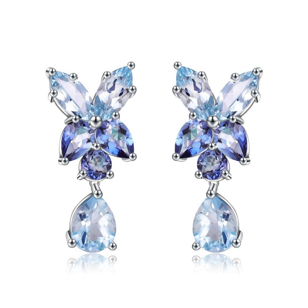 GEM'S الباليه-أقراط توباز زرقاء طبيعية ، مجوهرات خطوبة ، أقراط من الفضة الإسترليني عيار 925 ، مجوهرات راقية