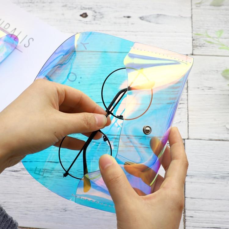 Mode offre spéciale PVC hommes femmes Portable étui à lunettes irisé Laser pliable boîte à lunettes pour lunettes de soleil