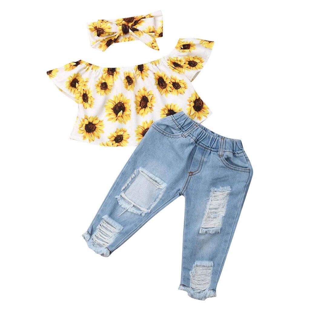 Осенние комплекты одежды для маленьких девочек; Одежда для новорожденных; топ с открытыми плечами и подсолнухами + джинсовые штаны; babyborn roupa infantil