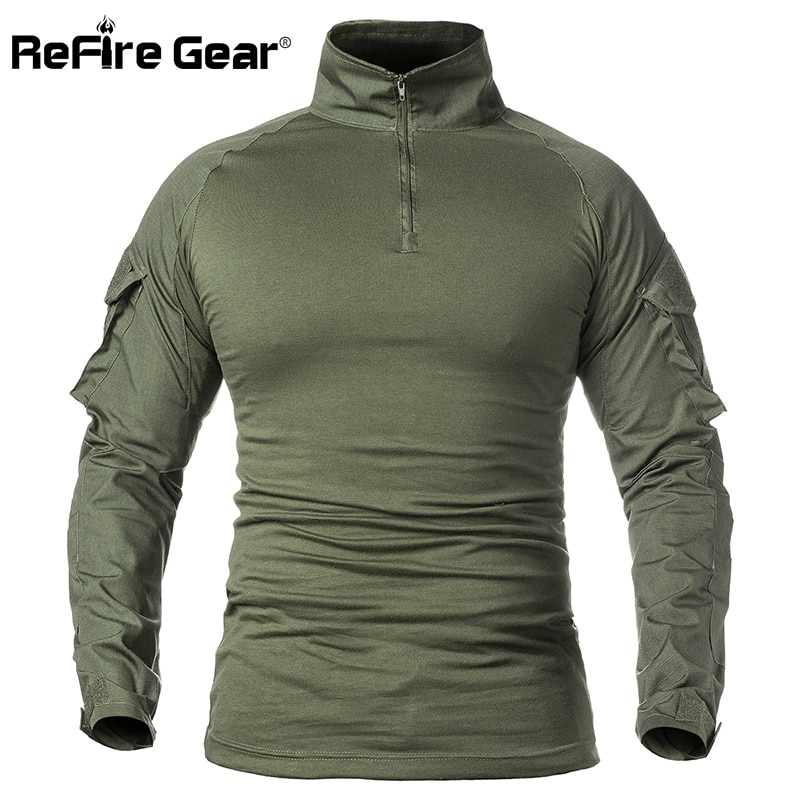 ReFire Gear Men Army Tactical T shirt SWAT Soldiers Military Combat T-Shirt Long Sleeve Camouflage S