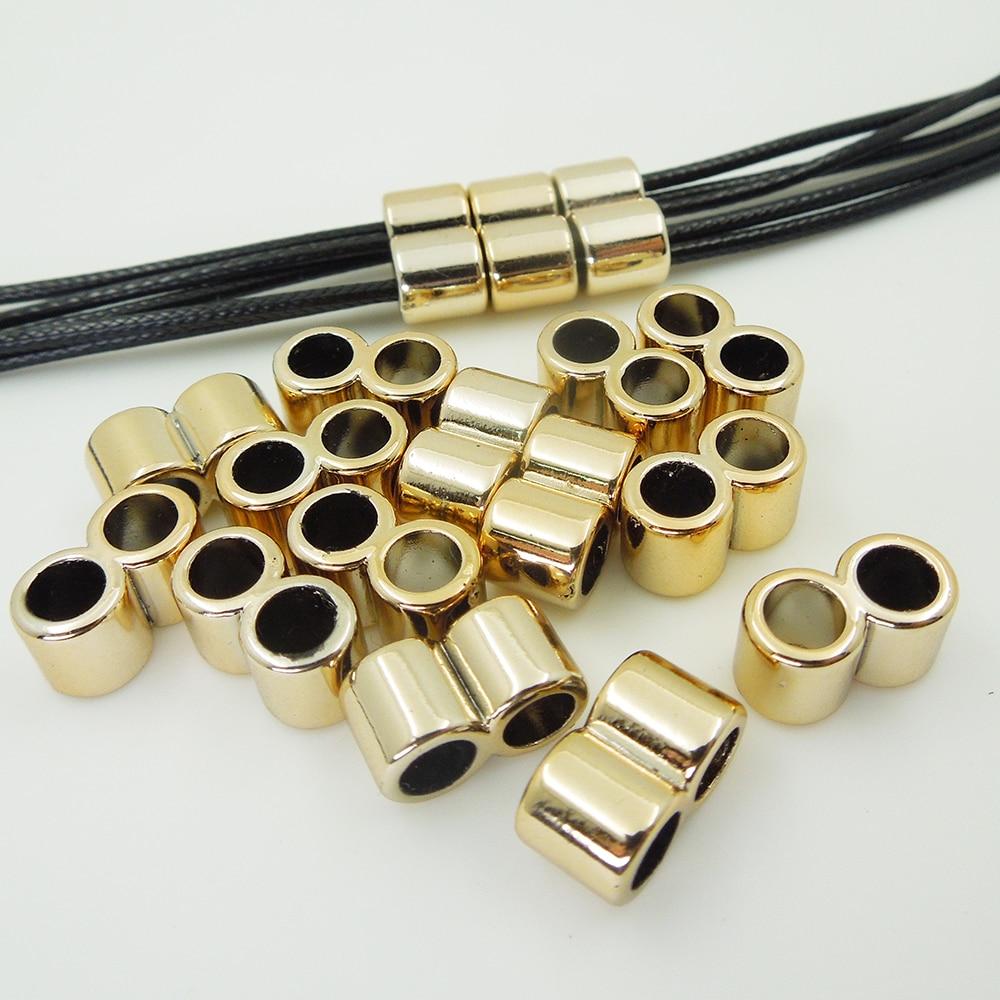 Cuentas espaciadoras chapadas en UV, trenzas de pelo de patrón doble, dread dreadlock de aproximadamente 10*16*8mm, agujero aprox. 6mm, 50 Uds.