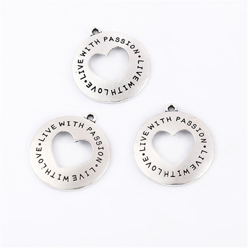 Top Quality 10 Pieces/lot 25mm Letter Printed live with love live with passion inspiration words charms for jewelry making