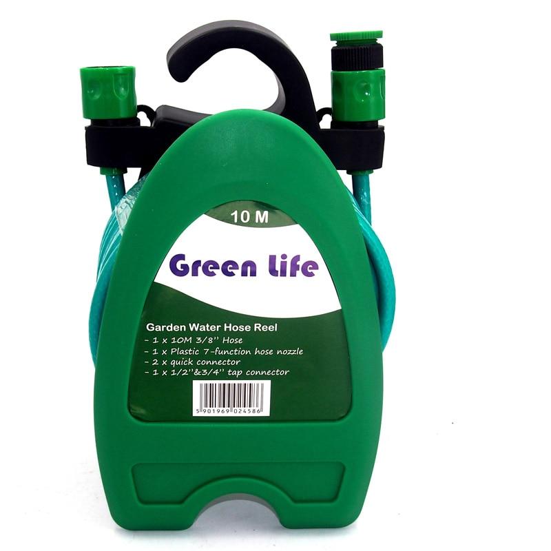 10 M de agua 32FT Mini portátil carrete de la manguera de agua de riego del jardín de lavado de coche manguera tubo de almacenamiento Kit