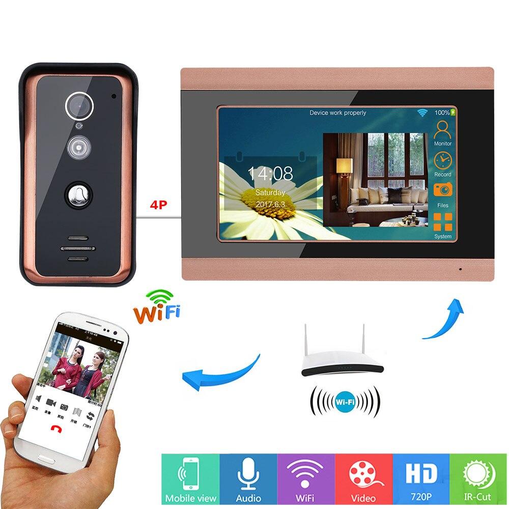 MAOTEWANG 7 дюймов Wifi беспроводной видео дверной звонок Домофон система входа с HD 1000TVL Проводная камера фото записи