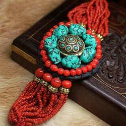 BB-153 Tibetischen Schmuck Mode Armband Simulierte Türkisen Verkrustete Nuggets Perlen Armbänder Nepal