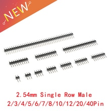 10 Pcs/lot 2.54mm simple rangée mâle 2 ~ 40 P Breakaway PCB conseil Pin en-tête connecteur bande Pinheader 2/3/4/5/6/8/10/12/20/40Pin