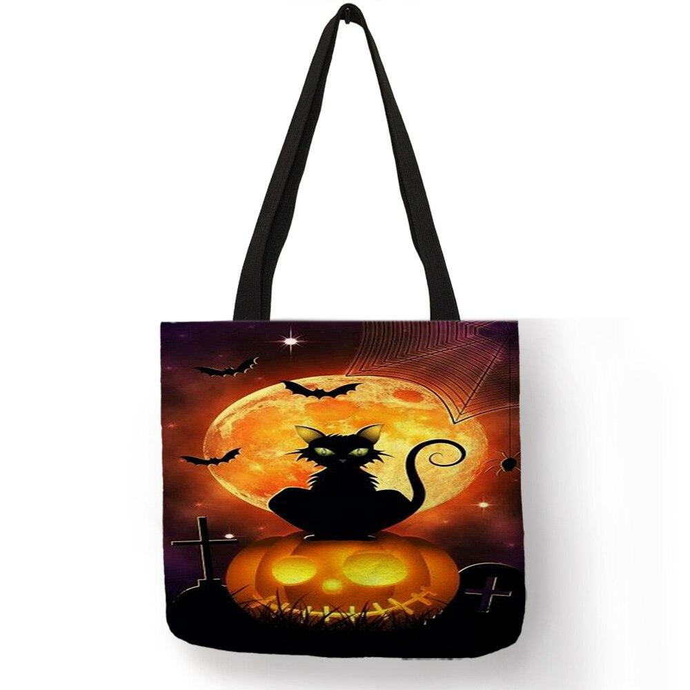 Excelente bolso para pintar 2018 Gato de Halloween Luna Llena calabaza bolsas Eco Lino reutilizable práctico bolso de hombro para mujeres