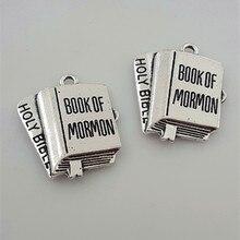 5 pcs/lot haute qualité Antique argent bracelet à breloques religieux livre lettres livre de MORMON charme collier pendentifs bijoux à bricoler soi-même