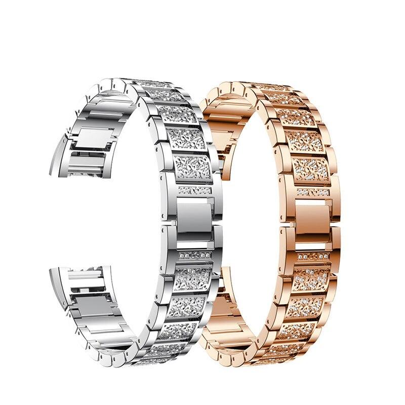 Cristal de Diamante Faixa de Relógio Cinta para Ajuste Três-talão de Aço Pulseira de Substituição Moda Relógio Carga Inoxidável Senhoras Bandas Bit 2