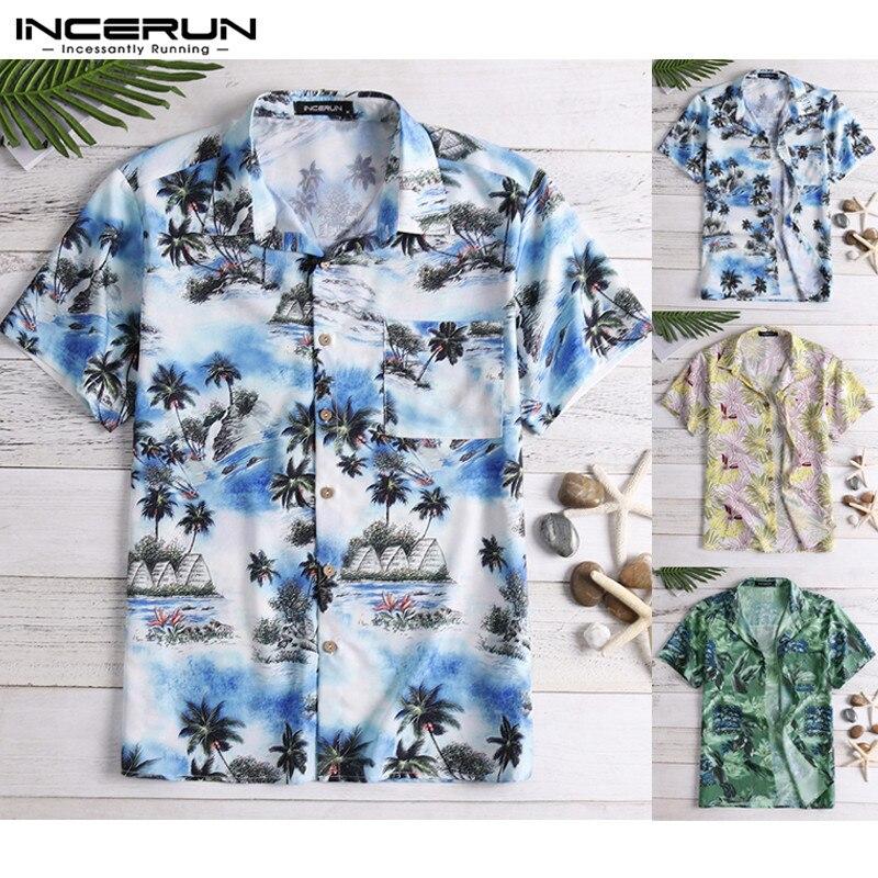 Incerun verão impressão camisa havaiana nova manga curta lapela rua topo casual férias praia camisa masculina 2020 5xl