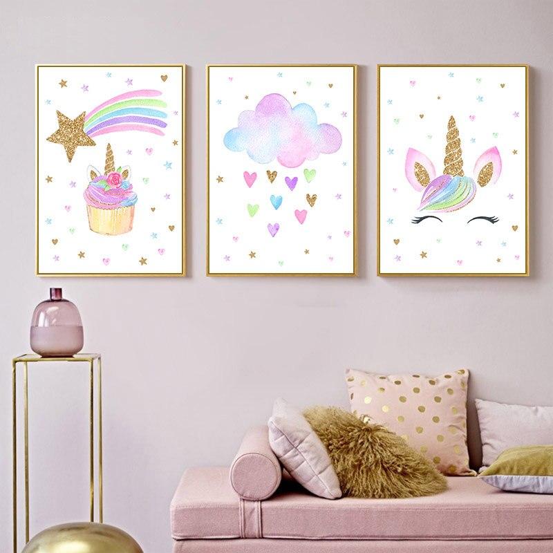 Tęczowa opaska jednorożec Wall Art pełny kwadrat/okrągły diamentowy 5D DIY diamentowa malowana plakat przedszkole dla dzieci śliczne dzieci dekoracja do pokoju dziecięcego