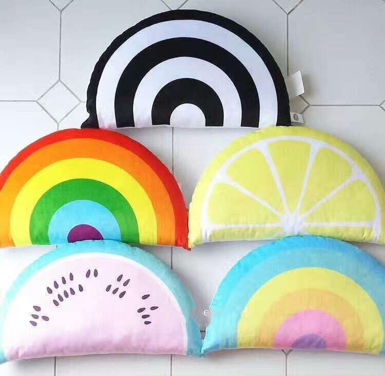 Sofa Decorative Pillows Semicircle Cushion 3D rainbow watermelon lemon pillow Sleep Toys Stuffed Plush Dolls Gifts For Kids Baby
