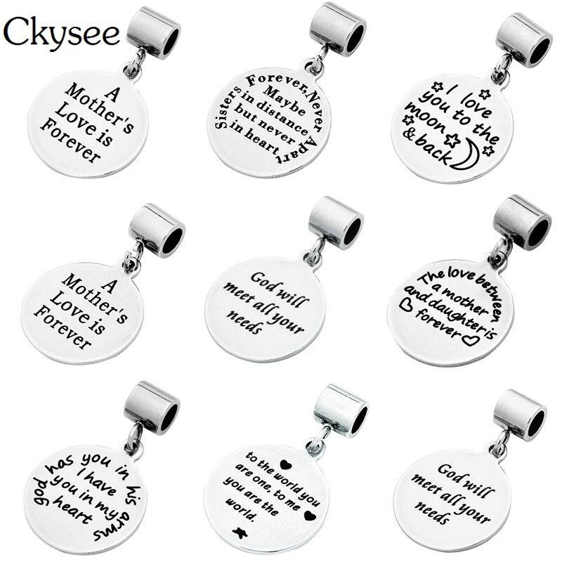 8 estilos de colgantes Ckysee de titanio color plateado de acero inoxidable inspiradores, para siempre, para hacer mensajes de joyería DIY