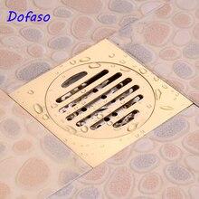 Dofaso cozinha dreno e banheiro chuveiro dreno dreno de assoalho resíduos drenagem do chuveiro ouro 10/15/20cm quadrado dreno chuveiro resíduos