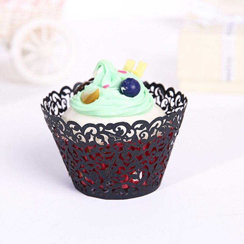 24 Uds calado papel de envolver para torta negro de envoltura filigrana pequeña vid encaje de hornear taza funda para Magdalena bandejas secreto RT9