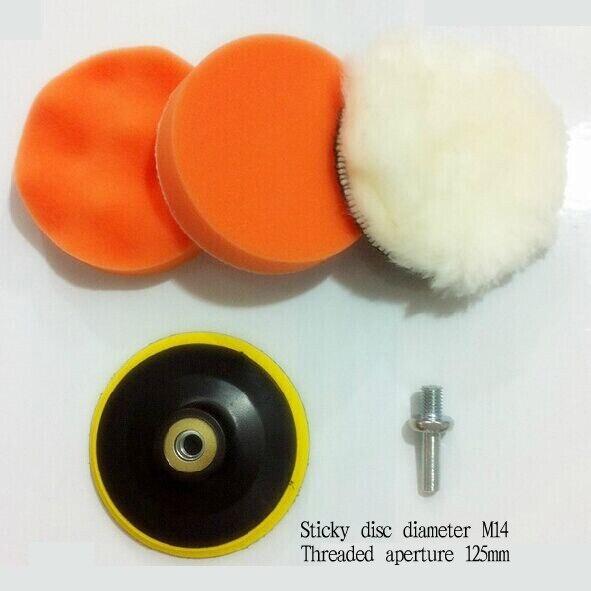 Kit de almohadilla pulidor de pulido grueso de alta M14/125mm con adaptador de taladro para coche
