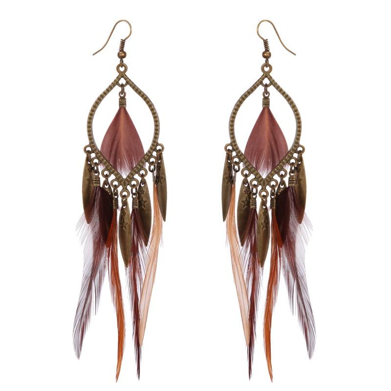 Top Qualität Mode Frauen Ohr Schmuck Charme Boho Tropfen Ohrringe Damen Lange Quaste Feder Ohrringe Fabrik Preis HY-6864