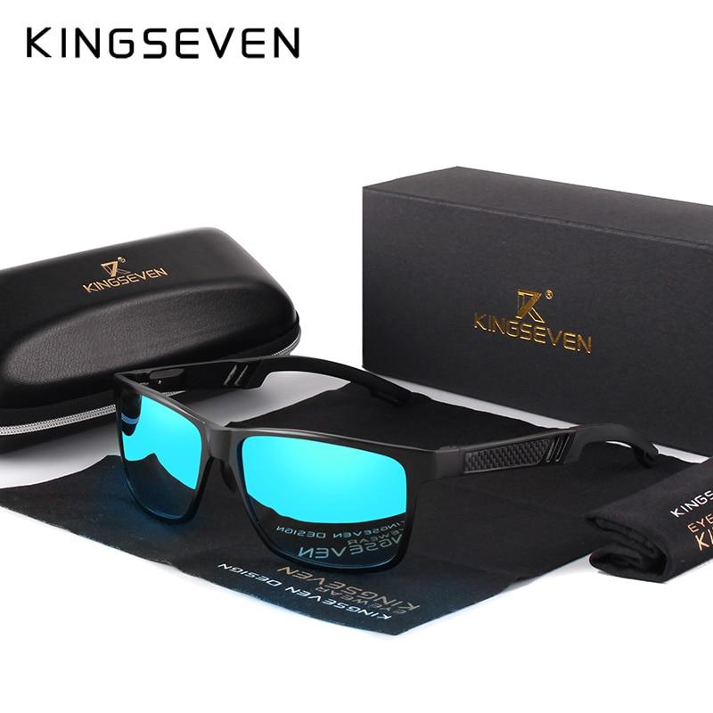 KINGSEVEN  2019 Aluminum Square Men/Women Polarized Coating Mirror Sun GlassesEyewear Sunglasses For