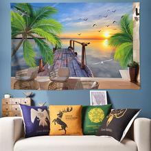Tapisserie fleurs de Mandala hawaïenne   Paysage de plage en 3D, tapisserie à fleurs de bohème, tapisserie murale, tapisseries Hippie psychedelique, grande 170cm * 240cm