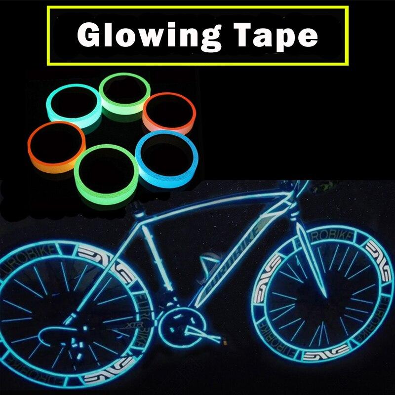 Fita adesiva reflexiva para bicicleta, adesivo removível que brilha no escuro, faixa de aviso de bike que brilha no escuro