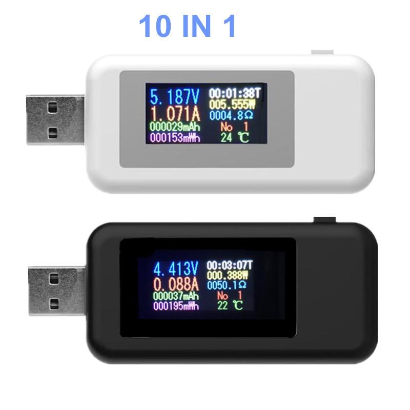 Detector de voltímetro USB 10 en 1, amperímetro, probador de corriente de voltaje, probador de capacidad de potencia, medidor de corriente de voltaje 20% de descuento