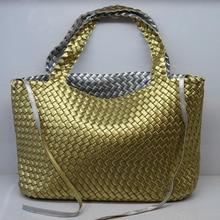 Nouvelle mode femmes tissé sac double couleurs avec pochette intérieure grande taille sac à main armure faux cuir sacs à main