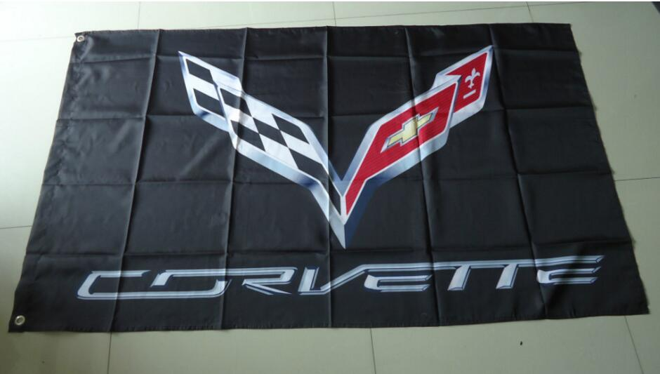 Para Bandera de corvette, Bandera de corvette, tamaño de 90X150CM, poliéster de 100%