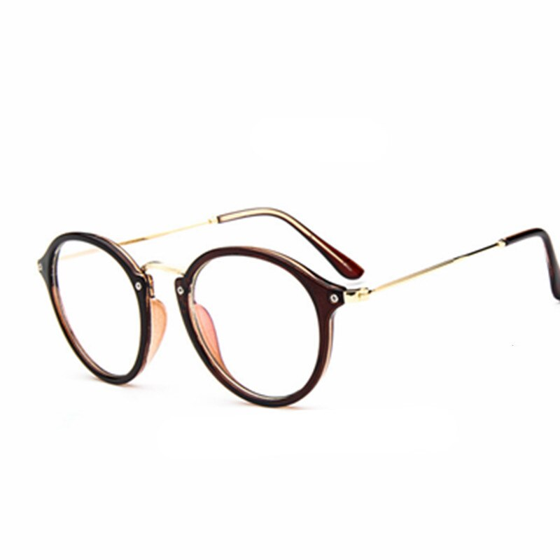Gafas empollón redondas elegantes lentes transparentes unisex gafas con montura metálica marco óptico hombres mujeres negro uv oculos