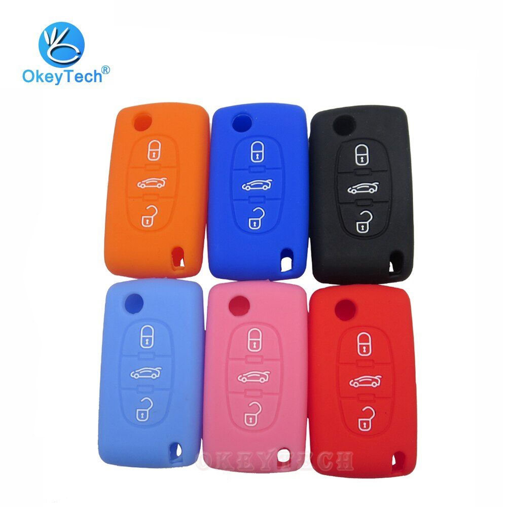 OkeyTech, funda plegable de 3 botones para llave de coche, funda de silicona para Fob, protector de piel de goma para PEUGEOT 407 307 308 607 para Citroen C4 C5